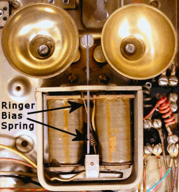 Old telephone ringer showing bias spring location