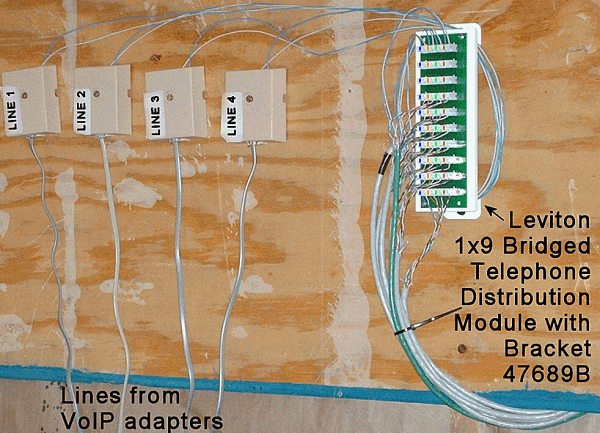 Common connection point using Leviton 1x9 Bridged Telephone Distribution Module with Bracket 47689-B